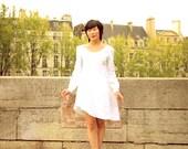 Long Sleeved White Linen Tunic Dress