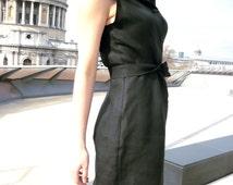 Hooded Black Linen Tunic Dress