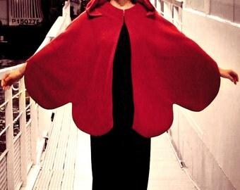 Red Cape, Red riding hood, Hooded cape, Wool Cape, Wool coat women, Handmade