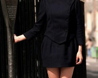 Military Retro Winter Navy Wool Suit