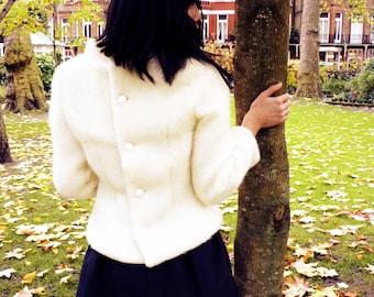 Creamy White Retro Winter Wool Coat