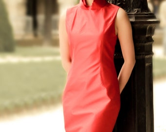Red wedding dress, Short wedding dress, Silk wedding dress, Casual wedding dress, Qipao dress, Handmade