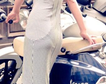 Black n white dress, Stripe dress, Cotton jersey dress, Tuxedo dress, Handmade