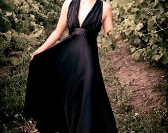 Black wedding dress, Goth wedding, V neck dress, Black chiffon dress, Silk Chiffon dress, Custom made dress