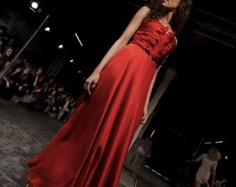 Red wedding dress, Silk Chiffon dress, Chinese wedding, French wedding dress, Red Wedding, Custom made dress