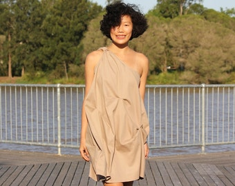 Natural loose fitting One Shoulder Dress