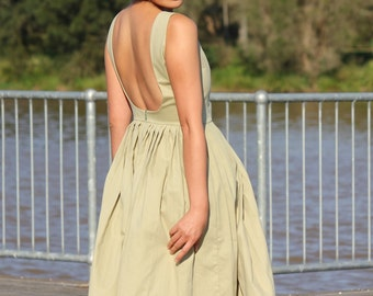 Low back dress, 50s dress, Cotton dress women, Pleated dress, Summer dress women, Hand made