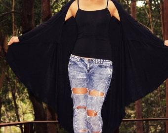 Asymmetric Long Sleeved Black Jersey Cardigan