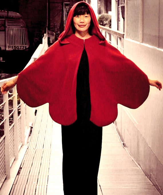 Butterfly Hooded Winter Red Wool Cape