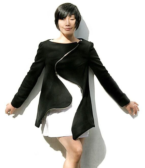 Warm winter coat, Black wool coat, Biker jacket, Zipper jacket, Wool jacket women, Handmade