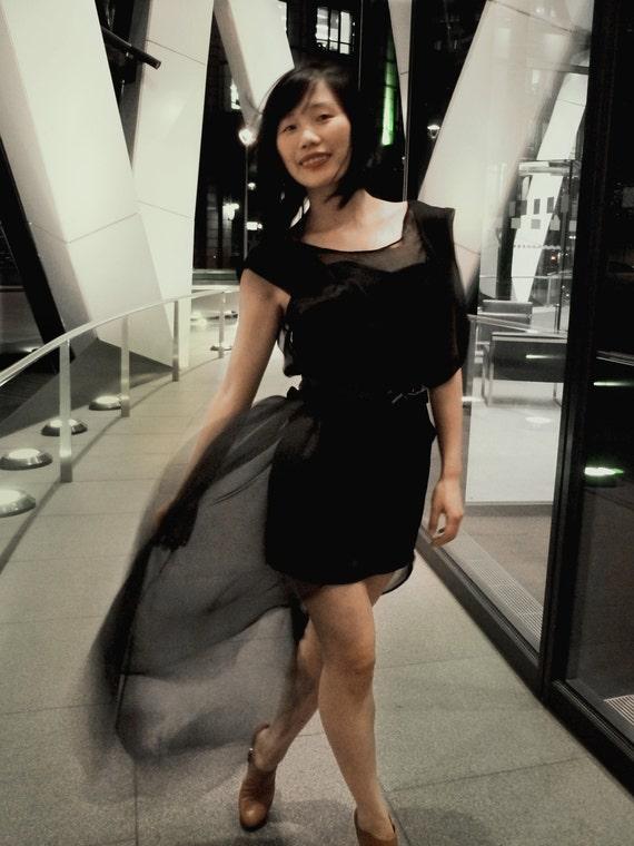 Black Silk Brigitte Bardot Dress Set Custom Made