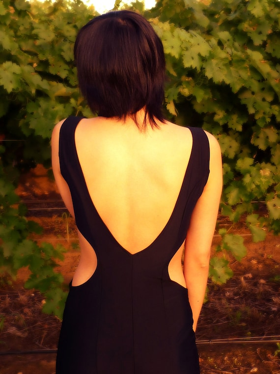 Low back, Goth dress, Open back dress, long prom dress, Long black dress, Breakfas at tiffanys dress