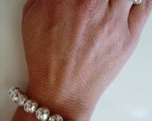 Tiffany Like Silver Beaded Bracelet and Ring (One Size Fits All)