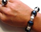 Metallic Navy Crystals and Stardust Beads with Clear Crystal Rondelles Bracelet and Ring (One Size Fits All)
