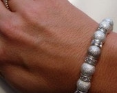 Shimmery Stardust Beads and Clear Crystal Rondelles Bracelet and Ring (One Size Fits All)