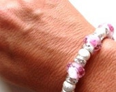 Sweet Pink Rose Crystal with Stardust Beads and Clear Crystal Rondelle Bracelet and Ring (One Size Fits All)