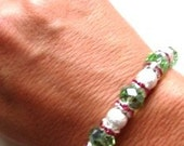 Danty Light Green Crystals with Stardust Beads and Pink Crystal Rondelle Bracelet and Ring (One Size Fits All)