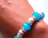 Shimmery Solid Aqua Crystals with Stardust Baeds and Clear Crystal Rondelles Bracelet and Ring (One Size Fits All)