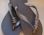 3 Swarovski Crystal Pave Rings Havaiana Women's Flip Flop Metallic Grey/Silver