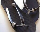 3 Swarovski Crystal Ring Havaiana Flip Flop Spirit Black