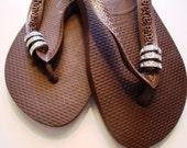 3 Swarovski Crystal Pave Rings Havaiana Women's Flip Flop Brown