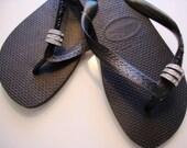 3 Swarovski Crystal Pave Rings Havaiana Women's Flip Flop Black
