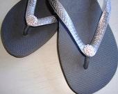 Swarovski Crystal Flower Havaiana Women's Flip Flop Metallic Grey/Silver