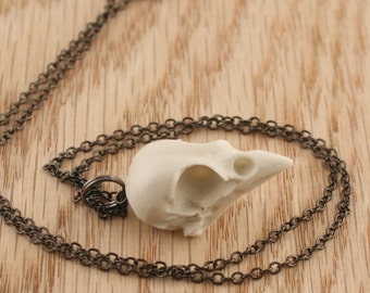 sparrow skull necklace - bone white on gunmetal