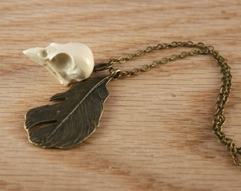 bird skull necklace - sparrow skull with bronze feather