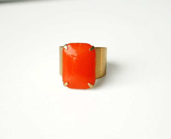 The Orange Octagon ring, adjustable