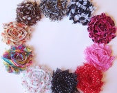 Chiffon Flower Hair Clips - Fabric Flower Hair Clip - Shabby Chic Flower  - You Pick - 40 Prints and Colors - SALE... Buy 3 Get 4th FREE