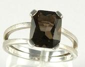 Smoky Quartz Sterling Silver Ring , Smoky Quartz Engagement Ring Split Shank Ring , Emerald Cut Ring Brown Smoky Quartz Ring Gift For Women