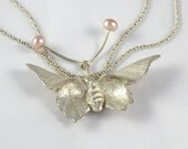 Butterfly Silver Necklace , Sterling Silver Butterfly with Pink Pearls Silver Designer Necklace , Unique Butterfly Necklace June Birthstone