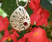 Garnet Necklace Gift For Her , Sterling Silver Necklace with Faceted Garnet , Red Garnet Pendant