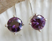 Amethyst Jewelry , Amethyst Sterling Silver Earrings , Amethyst Earrings Gift For Her , Purple Gemstone Silver Earrings