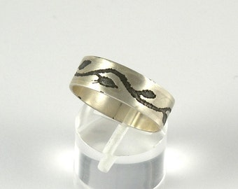 Twig Ring , Miniature Leaves Sterling Silver Ring Band , Tiny Leaves Band Branch Ring Gift For Women , Foliage Jewelry Oxidized Leaves Ring