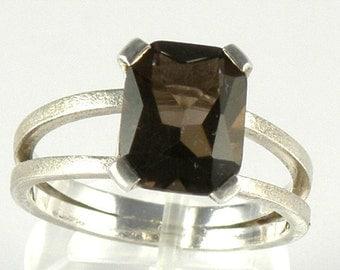 Smoky Quartz Sterling Silver Ring, Smoky Quartz Engagement Ring Split Shank Ring, Emerald Cut Ring Brown Smoky Quartz Ring - MADE TO ORDER