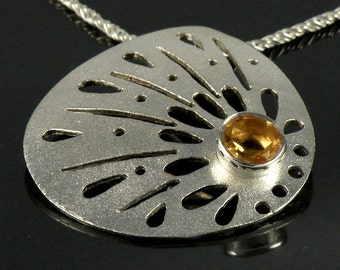 Yellow Citrine Necklace, Citrine Pendant Gifts For Her Citrine Jewelry, Lace Sterling Silver Necklace