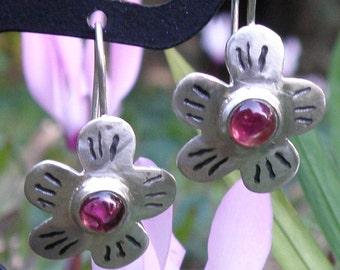 Pink Tourmaline Earrings, Blossom Earrings, Floral Earrings in Sterling Silver, flower earrings, Silver Flower Earrings Tourmaline Jewelry