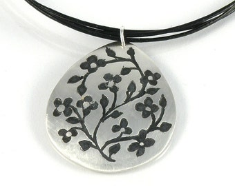 Silver Floral Pendant on Black Leather Cord Gift For Women, Tiny Flowers Sterling Silver Necklace, Miniature Flowers Tear Drop Pendant