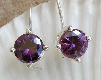 Amethyst Jewelry February Birthstone, Ultra Violet Earrings Sterling Silver Earrings Amethyst Earrings Gift For Her Purple Gemstone Earrings