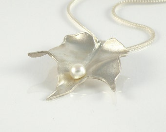 Leaf Jewelry Gift For Women, Leaf Necklace in Sterling Silver, Foliage Necklace Silver Leaf Pendant with White Pearl