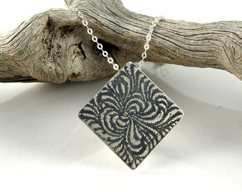 Abstract Flower necklace, Sterling Silver Necklace, Swirl Pendant Gift For Her, Diamond Shape Necklace, Etched and Oxidized Necklace