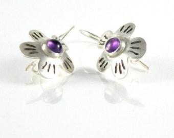 February Birthstone Amethyst Earrings, Ultra Violet Earrings, Flower Earrings Amethyst Jewelry, Sterling Silver Earrings, Floral Jewelry