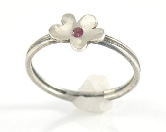 Tiny Flower Ring Pink Tourmaline Silver Stacking Ring Gift For Teens, Flower Stacking Ring Sterling Silver Ring, Stackable Ring Stacked Ring