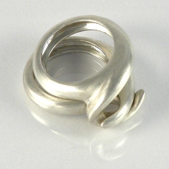 designer ring combined rings combination sterling silver