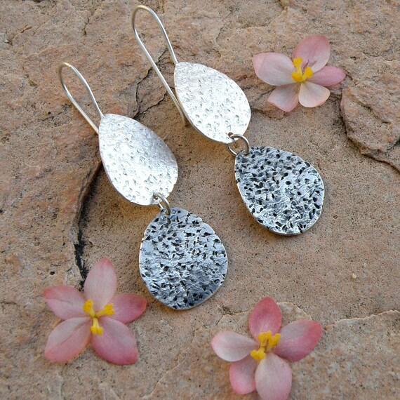 Cactus Leaves Sterling Silver Earrings, Oxidized Earrings, Gifts For Her, Rustic Tear Drop Earrings, Silver Dangle Earrings