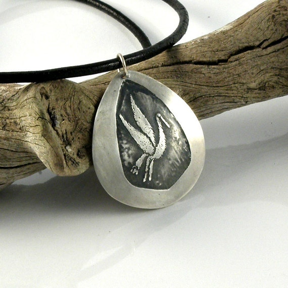 Crane Sterling Silver Necklace, One Of A Kind, Unique Silver Pendant, OOAK, Silver Flying Bird Necklace, Etched and Oxidized