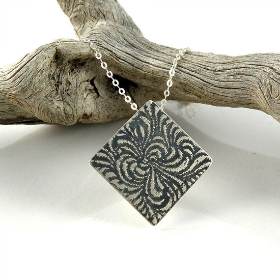 Abstract Flower Sterling Silver Necklace , Swirl Pendant Gift For Her , Diamond Shape Necklace , Etched and Oxidized Silver Flower Necklace
