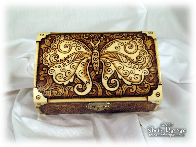 Steampunk Butterfly Box Pyrography Woodburning